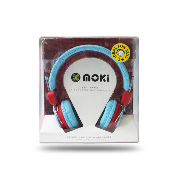 Noise limited Moki headphones in blue and red